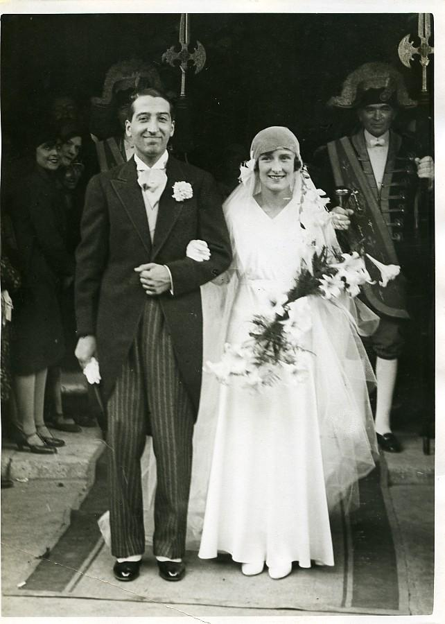 Sports_Paris_Simone_de_la_Chaume_&_René_Lacoste_Wedding_Old_Photo_1930_MEURISSE__