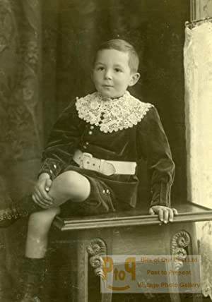 Switzerland Young Boy sitting Table Old Boissonnas: Fred. BOISSONNAS