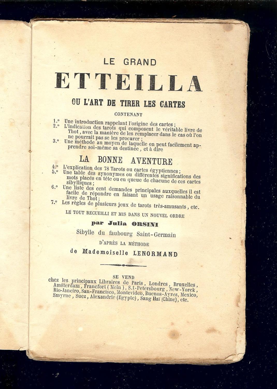 LE GRAND ETTEILLA ou l  ART de TIRER les CARTES - IMPRIMÈ vers 1850 ... 9e49c4f9f2b8