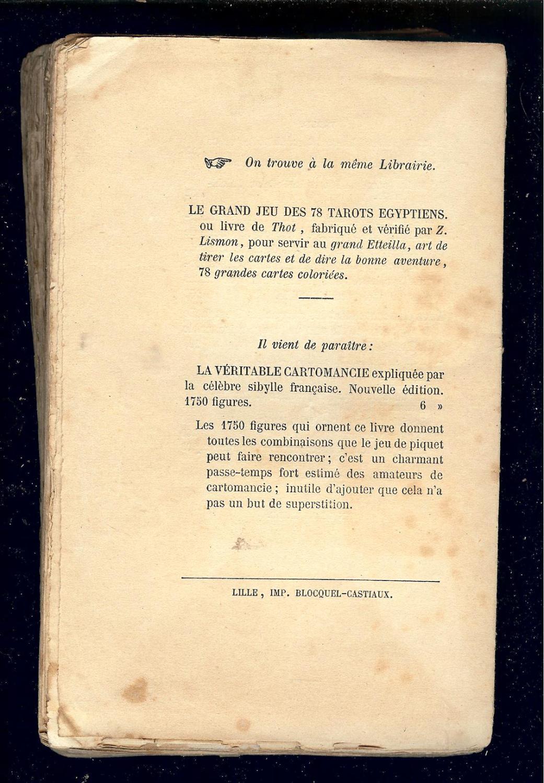 LE GRAND ETTEILLA ou l  ART de TIRER les CARTES - IMPRIMÈ vers 1850 par ... 11f960ea4302