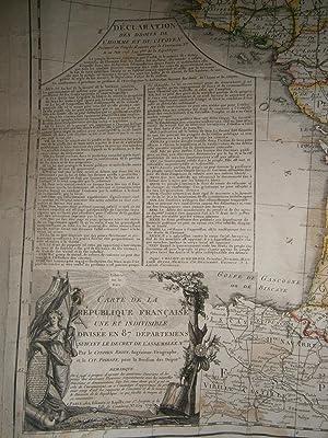 1793 - CARTE de la REPUBLIQUE FRANCAISE UNE ET INDIVISIBLE DIVISÈE en 87 DÈPARTEMENS ...