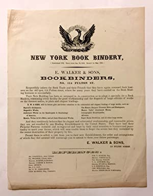 New York Book Bindery. New York Book-Bindery. Established 1836. Burnt down January 23d. 1852. Reb...