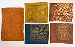 [BOOK ARTS]. Small Teaching Collection of five (5) Gold-printed Brocade Relief Paper specimens