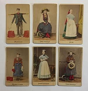 German Hand-colored Albumen Photographs of Hamburg Tradesmen and Women (Milkmaids, Milkman, Nurse ...