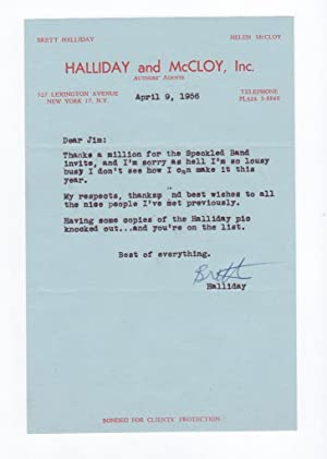 TYPED LETTER, SIGNED (AUTOGRAPH): Halliday, Brett