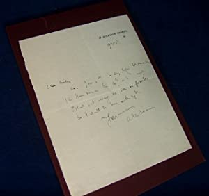 AUTOGRAPH LETTER. SIGNED: Mason, A. E. W. (English Mystery and Adventure Novelist, Author of THE ...