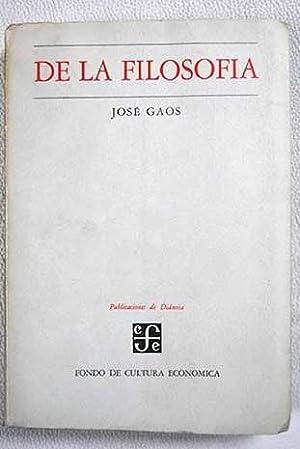 De la filosofía: Gaos, José