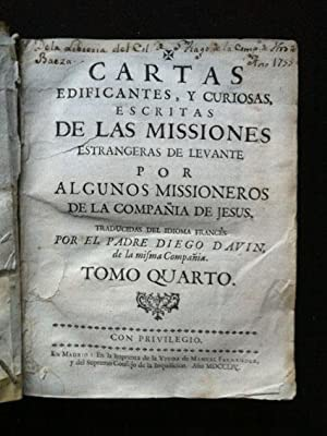 Cartas edificantes y curiosas, escritas de las: Davin, Diego (PJ)