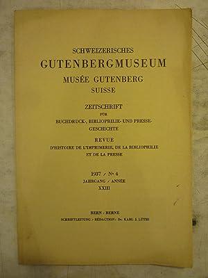 Schweizerisches Gutenbergmuseum [Magazines]: Editor