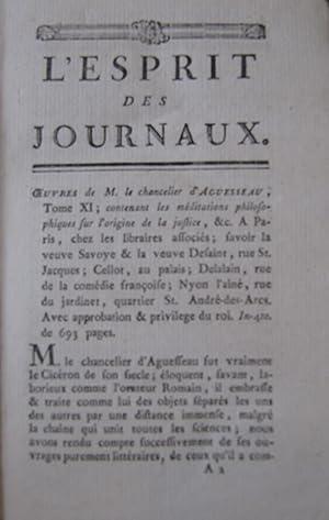 L'esprit des Journaux Francois et Etrangers [Magazines]: Editor