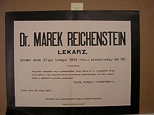 JUDAICA Death announcement of Dr. Marek Reicheistein. 29 feb. 1932: Editor