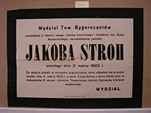 JUDAICA Death announcement of Jakob Stroh. March 5th, 1923: Editor