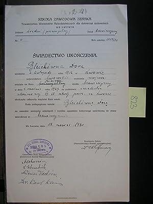 JUDAICA. Diploma girls Jewish school Blcichowna Dora 1912 Lvov: Editor
