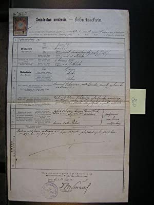JUDAICA Jewish birth certificate Marya bat Samuel Shapira 1895 Lvov Lemberg: Editor