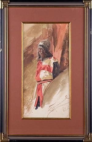 Grechaninov Nikolai Ivanovich. Warrior (Ratnik). Oil Painting: n/a