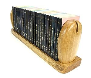 Unique hand crafted Oak Book Trough, Book Shelf, Bookends: Sylva Stone