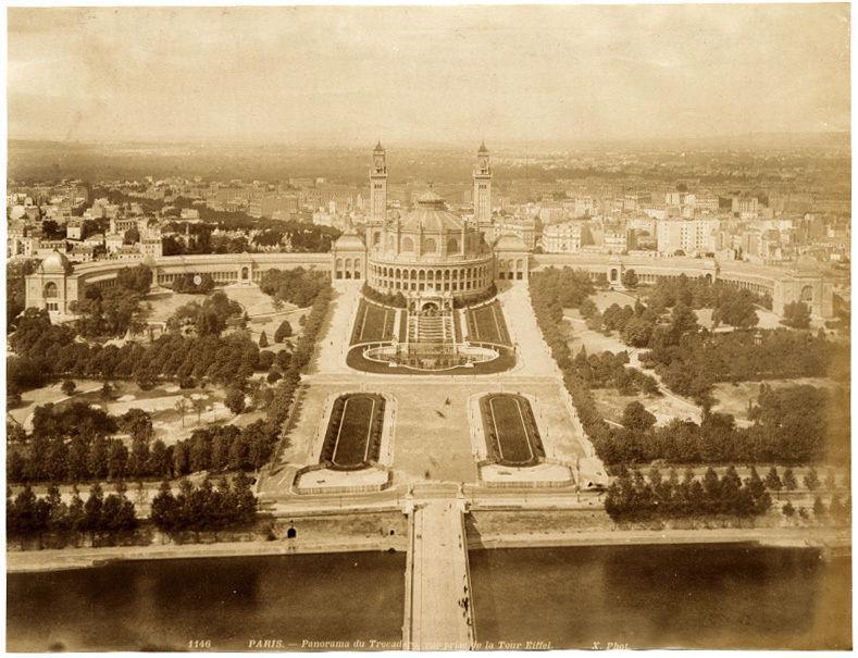 Paris Trocadero prise de la Tour Eiffel Large vintage photo 1889c X. Phot X. Phot Good