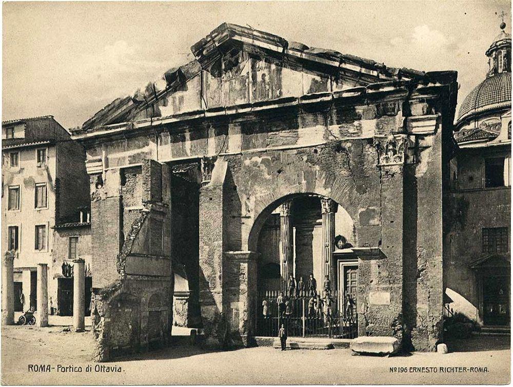 Rome The portico of Octavia Original vintage collotype photo 1900c E.  Richter  Ernesto Richter 11d7a078957