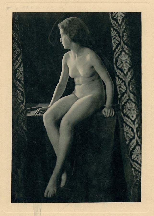 Nude woman sitting Large original Rotoprint photo. Blue ink 1900c XL231 Fine