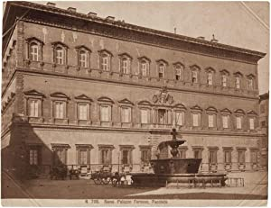Rome Farnese Palace Large Original albumen photo 1870c D'Alessandri Roma
