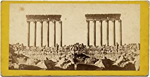Stereo card Syria Baalbeck Columns of Temple of the Sun 1860c