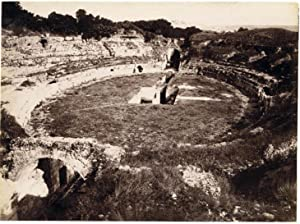 Siracusa Sicily amphitheater Large original albumen photo 1880c Incorpora