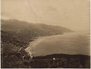Taormina Sicily Panorama Large vintage unmounted albumen photo 1890c