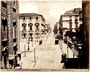 Catania Strada Etnea Gius. Incorpora Large original vintage albumen photo 1870c