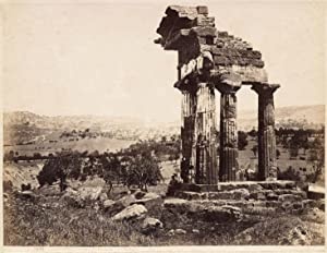 Agrigento Sicily Temple of Castor and Pollux Large vintage photo 1880c G. Sommer