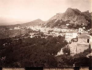 Photograph Taormina Sicily Panorama Large albumen photo Crupi friend of Von Gloeden 1890c