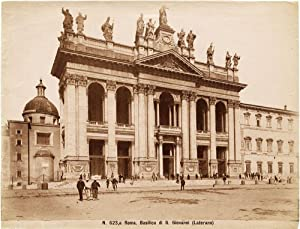 Rare Rome San Giovanni in Laterano People Large vintage albumen photo 1880c Roma