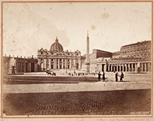 Unseen Rome St Peter Large albumen 1860c Bernoud Printed later by Mauri 70s Roma