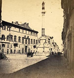 Rome Piazza di Spagna Early Italian Stereoview Roma Stereo card 1858-60c S79