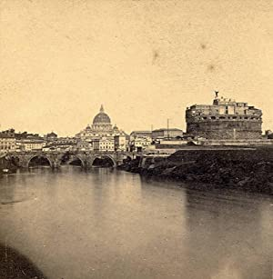 Rome Tiber & Castle S. Angelo Early Italian Stereoview Stereo card 1858-60c S78