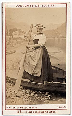 Rare Carte de visite Costume Woman of Switzerland by A. Braun Painted background 1870c S317: Adolph...