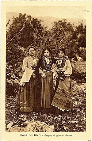 Piana Greci Sicily Albanian women Traditional dress PC Heliogravure 1909 S249