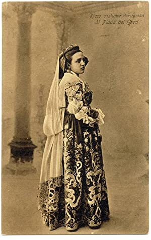 Piana dei Greci Palermo Sicily Woman traditional dress PC Heliogravure 1908 S250