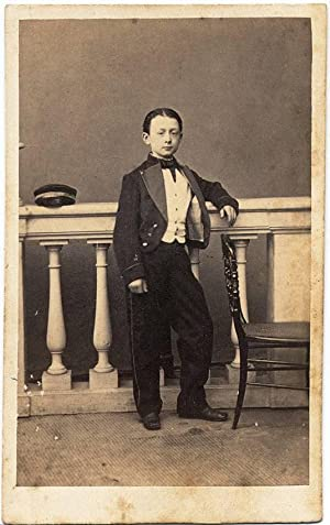 Carte de visite Palermo Boy in college uniform Signed and dedied 1860c Photo V, Laisné S309