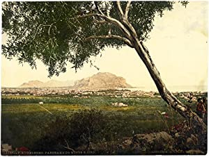 Photograph Palermo Panorama from S. Ciro Rare original photochrome Libreria Reber 1890 L298