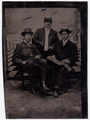 Tintype . Portrait of three man with elegant background 1890c S701