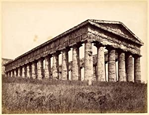 Very old Segesta Sicily temple Large vintage albumen photo Excellent 1860c XL98