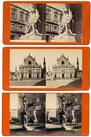 Excellent Florence Lot three Stereo cards Stereoviews 1870 Giacomo Brogi Firenze