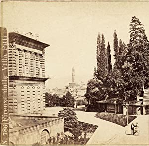 George Conrad Florence Villa Pitti Rare Stereo card Albumen photo 1860c S1051