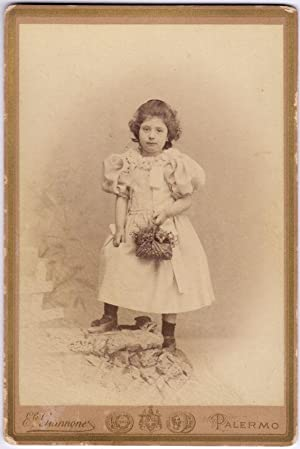 Cabinet Palermo Portrait little girl with flower basket Photo Giannone1890c S641