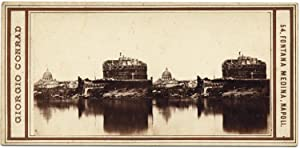 Rare Stereo card Rome Tiber and Castle St. Angel 1860c Stereoview Roma Conrad