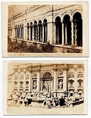 Lot two Carte de visite Rome Fountain Trevi and S. Giovanni 1860c Photo Sommer & Behles
