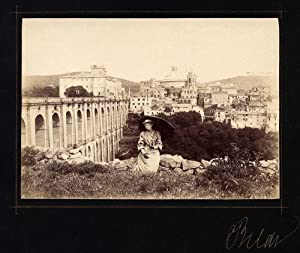 Very nice Photograph Rare vintage albumen unseen Rome Panorama Woman with umbrella 1880c