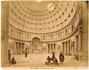 Rome F.lli D'Alessandri N. 102 Pantheon from painting Large albumen photo 1870c