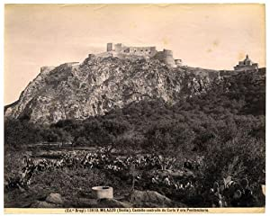 Milazzo Messina Sicily Castle Large vintage albumen photo 1890c G. Brogi