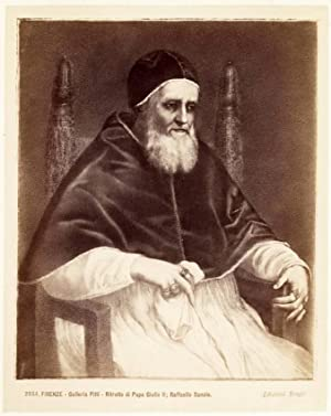 Florence Pitti Gallery Portrait Pope Giulio II Large vintage photo 1875c Excell.
